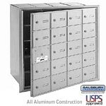 20 DOOR (19 USABLE) 4B+ HORIZONTAL MAILBOX-ALUMINUM-FRONT LOADING-A DOORS-USPS ACCESS