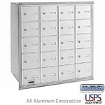 20 DOOR 4B+ HORIZONTAL MAILBOX-ALUMINUM-REAR LOADING-A DOORS-PRIVATE ACCESS