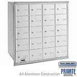20 DOOR 4B+ HORIZONTAL MAILBOX-ALUMINUM-REAR LOADING-A DOORS-USPS ACCESS
