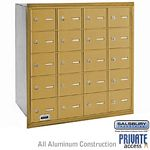 20 DOOR 4B+ HORIZONTAL MAILBOX-GOLD-REAR LOADING-A DOORS-PRIVATE ACCESS