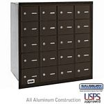 20 DOOR 4B+ HORIZONTAL MAILBOX-BRONZE-REAR LOADING-A DOORS-USPS ACCESS