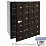 24 DOOR (23 USABLE) 4B+ HORIZONTAL MAILBOX-BRONZE-FRONT LOADING-A DOORS-USPS ACCESS
