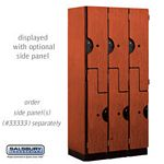 DOUBLE TIER ''S'' STYLE  DESIGNER LOCKER-3 WIDE-6 FEET HIGH-18 INCHES DEEP-CHERRY