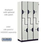 DOUBLE TIER ''S'' STYLE DESIGNER LOCKER-3 WIDE-6 FEET HIGH-18 INCHES DEEP-GRAY