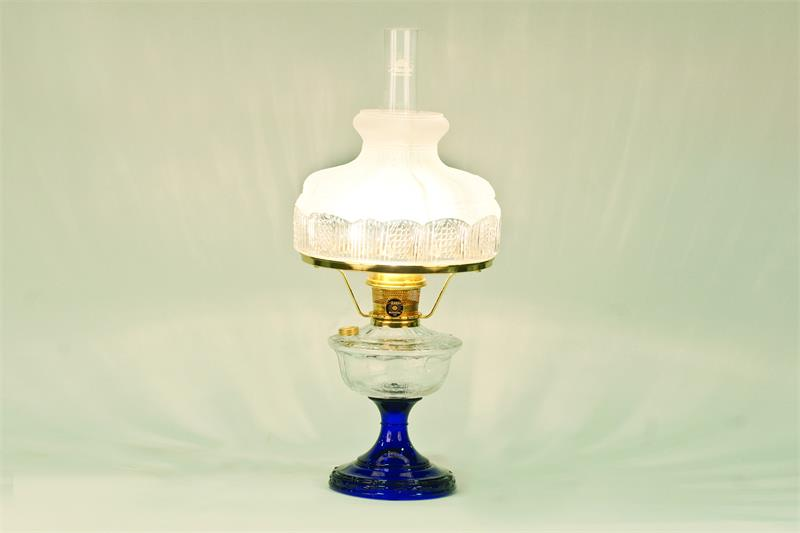 Aladdin Lamps Alexandria Glass Table Lamp Clear U0026 Cobalt Blue W/ 501 9RGT #