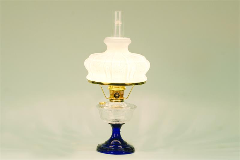 Aladdin Lamps Alexandria Glass Table Lamp Clear U0026 Cobalt Blue W/ 7 8 Opal  Shade #100008493