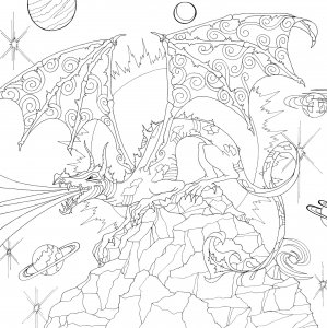 Mountain Fire Breathing Dragon Coloring Coloring Pages