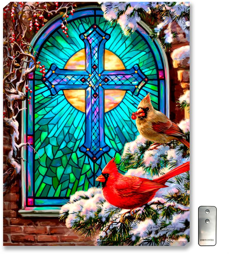 Glow Decor Cardinals Stained Glass Illuminated Wall Art