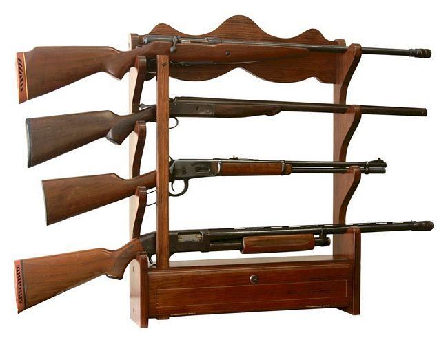 4 Gun Wood Wall Rack AFC 840