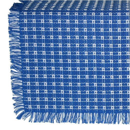 70 X 120 (Rectangle) Homespun Tablecloth Blue And White.