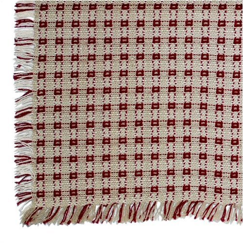 70 X 120 (Rectangle) Homespun Tablecloth Stone Beige And Cranberry Red.