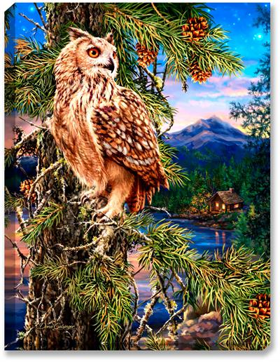 Owl sits perched in pine tree overlooking mountain, lake, and cabin the woods art print