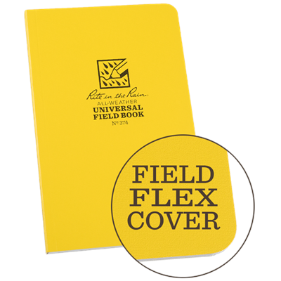"Originally developed for the US military, these flexible 4.635"" x 7.25"" perfect bound books are made to not only survive but to collect an obscene amount of data. The sheets are perforated throughout the book for easy removal and easier opening at the spi"