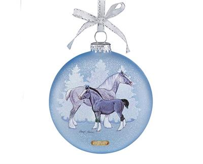 Sheryl Leisure created two paintings for the double-sided frosted glass ornament: a bay Clydesdale, and a grey Shire mare and foal.
