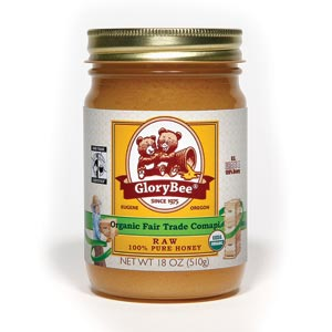 Glory Bee Organic Raw Fair Trade Honey 18 ounce jar