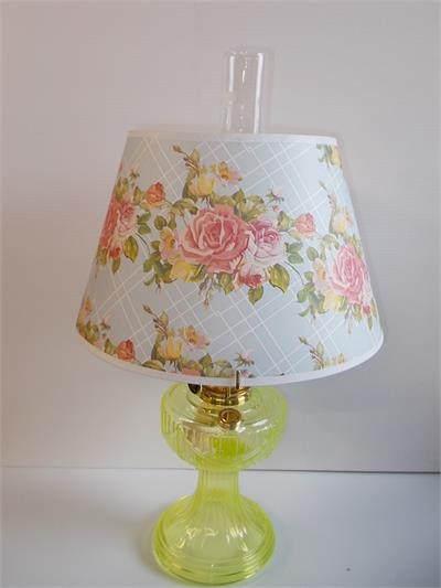 Model B era paper or parchment shade with antique rose and floral bunches. Vaseline Yellow non-electric table lamp