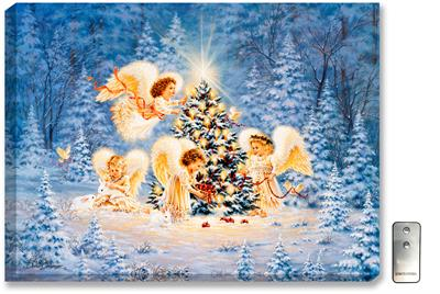 Four angel children, dressed in white, decorate a Christmas tree. Peace doves fly overhead a snowy, winter scene.