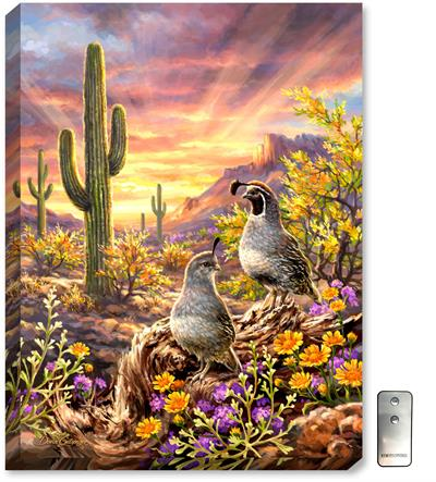 A warm and appealing painting of desert quail, with sunset colors, desert wildflowers, cactus, and large rock formations.
