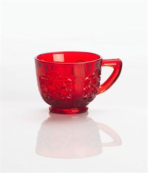 Mosser Glass Red 6 ounce Daisy & Button Punch Cups, set of 4 #148CR4