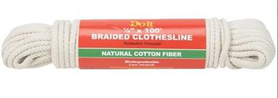 "1/4"" x 100' Braided Cotton Clothesline"