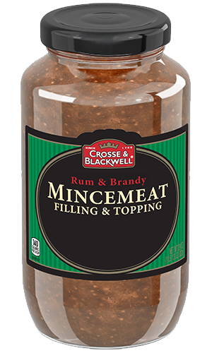 A centuries-old British specialty, Crosse & Blackwell Mincemeat is a rich, aromatic, ready-to-use fruit filling traditionally used in pies and desserts. The Rum and Brandy version is made with raisins, spices and Pippin apples, a tart English heirloom app