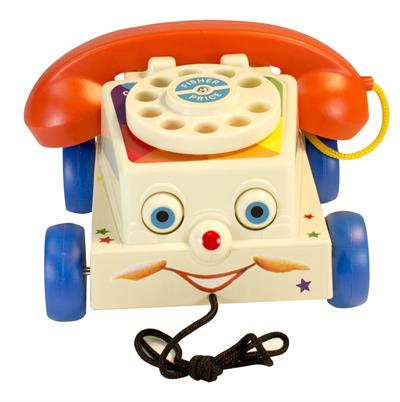Fun retro pull toy with rotary dial phone face