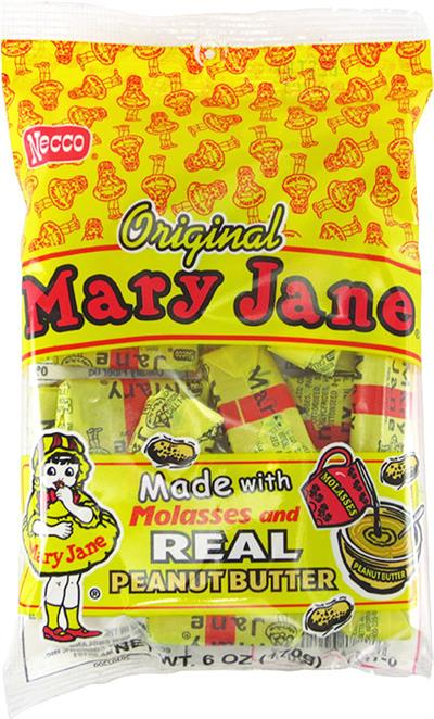 Classic Mary Jane Taffy Candy, 6 ounce bag  Mary Jane Taffy combines the traditional flavors of peanut butter and molasses into a delicious chewy treat. Made by Necco in Revere, Massachusetts. Traditionally sold as penny candies in stores, we offer Mary J