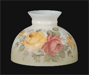 "10"" Opal Glass Student Shade with Victorian Roses Scene #1162"