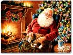 Santa is caught napping, fast asleep in his rocking chair. A tabby cat sits on his lap, while Santa rests besides his crackling stone fireplace and brightly decorated Christmas tree. A warm cup of cocoa sits on the table with some cookies.