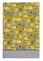 Bright yellow kitchen towel with polka dot sheep, lamb, ewes