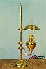 Antique style bright brass desk lamp with shade and reflector