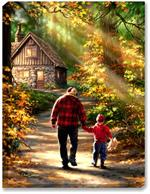 Father and son walking in the woods art print