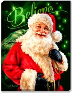 A jolly Saint Nicholas is dressed in a red suit trimmed with white fur, a large buckled black belt, black leather gloves, and a green sack of Christmas toys. Green
