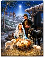 Mary, Joseph, Jesus in manger christian artwork
