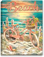 Pink Bicycle artwork, sandy shore, beach, seashore, ocean, sunset, seashells