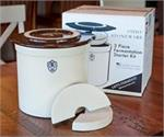 This three piece fermenting set includes an American Made, Lead Free, 2 Gallon Crock, Brown Lid, and Fermenting Weights.