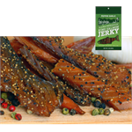 Smoked King Pepper Garlic Salmon Jerky is made only from hand-filleted, Grade A Wild Alaskan King Salmon.