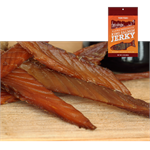 Smoked King Teriyaki Salmon Jerky from Alaska Smokehouse is made only from hand-filleted, Grade A Wild Alaskan King Salmon. Rich in Omega-3 and proteins, but low in sodium and carbs makes the Alaska Smokehouse salmon jerky the perfect healthy snack.