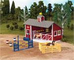 Plastic horse barn for mini and small model horses and ponies.