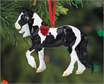Christmas Tree Ornament  Black and White Pinto Tobiano Draft Horse