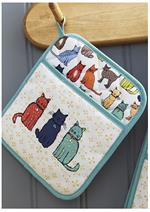 Bright colored cat design hot handler holder for the kitchen.