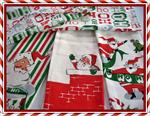 This retro pattern set of kitchen dish towels includes 1 each: Red Retro Santas with Green Ho Ho Ho Banners, Retro Santa Face with red, white, and green streamer stripes, Three Retro Santas with brick chimney tops on a white background, and an all-over Ho