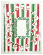 Decorate your home this holiday season with a mid-century inspired Santa with Bells tablelcloth. This 100% Cotton Tablecloth measures 52