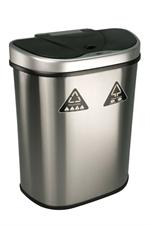 Nine Stars DZT-70-11R Trash Can/Recycler, Infrared Touchless Automatic Motion Sensor Lid, Stainless Steel, 18.5-Gallon