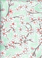 Oil Cloth Fuji on Seafoam Green Yardage Fabric Floral Print Cherry Blossom