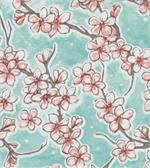Oil Cloth Fuji on Aqua Blue Yardage Cherry Blossom Fabric