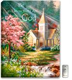 Christian, inspirational artwork with church, sunlight, creek, flowers