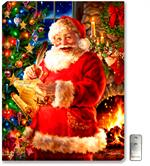 A bright and jolly Santa Claus is posed with his list of naughty and nice, and he's checking it twice. Background has an elegant and colorful Christmas tree, and Santa is standing in front of a warm, crackling stone fireplace.