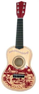 The Cowboy Guitar from Schylling is an acoustic guitar that has 6 nylon strings, a slotted neck, plastic tuning pegs, and detailed tuning instructions.
