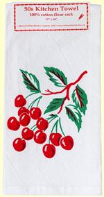 Bursting with color, our vintage-inspired cherries design is printed on cotton flour sack.  17